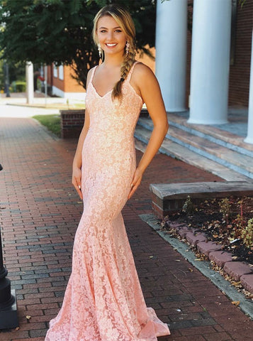 Beading Pink Lace Backless Mermaid V-neck Prom Dress