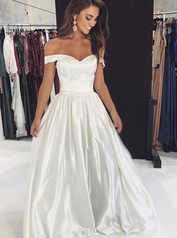 A-line Off Shoulder White Sexy Prom Party Evening Dress