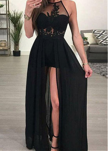 See Through Chiffon Halter Black A-line Evening Dress