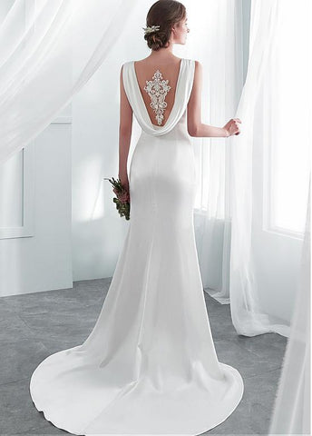 Acetate Satin Scoop Beading Appliques Mermaid Wedding Dress