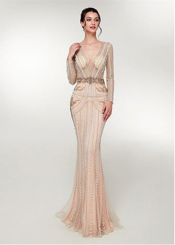 Gold Beading V Neck Long Sleeve Mermaid Prom Dress
