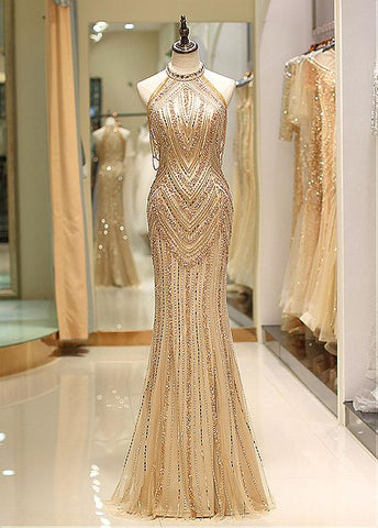 Tulle Jewel Beading Gold Mermaid Evening Dress