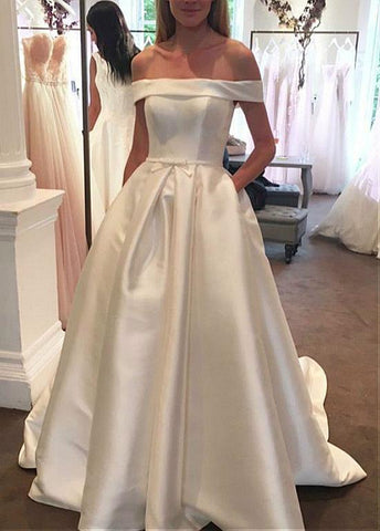 Satin Off-the-shoulder A-line Wedding Dresses With Pockets