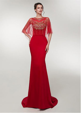 Spandex Jewel Red Half Sleeves Mermaid Evening Dress
