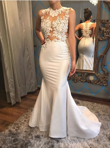 Mermaid Appliques Button Jewel Prom Dress