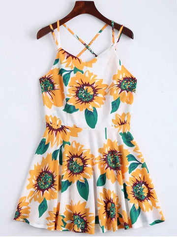 Cheap Sunflower Print Open Back Cami Sundress