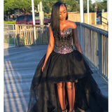 Sweetheart Hi Lo Crystal Black Beading Tulle Ball Gown Prom Dress