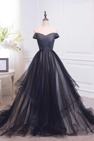 Tulle Pleats Black Off The Shoulder Long Prom Dress