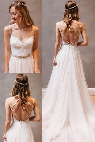 Summer A-Line Tulle Spaghetti Strap Open Back Beach Boho Wedding Dress