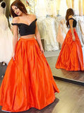 Orange Off-the-shoulder Satin Long Two-piece Prom Dress