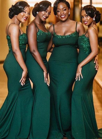 Beading Dark Green Mermaid Spagehtti Straps Appliques Bridesmaid Dress