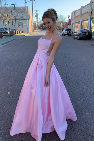 Pink Long Straps A-Line Satin Prom Dress with Beaded Pockets