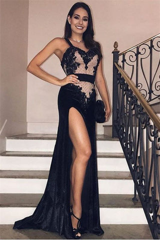 Spaghetti-Straps Side-Slit Black Velvet  Mermaid Evening Prom Dress