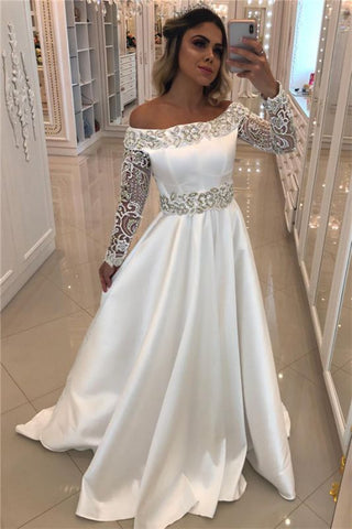 Off The Shoulder Beading Satin Long Sleeve Appliques Bridal Wedding Dress