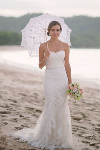 Beach Mermaid Strapless Simple Sexy Summer Lace Wedding Dresses