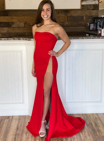 Mermaid Strapless Satin Beading Red Prom Dress With Side Split