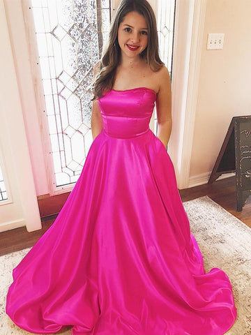 Sweep Train Criss cross Fuchsia Satin Prom Dress With Pockets