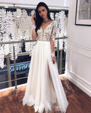 A-line V-neck Tulle Floor Length Long Sleeve Beads Appliques Wedding Dress