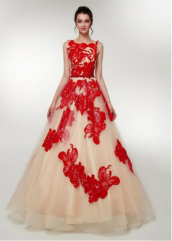 Tulle Bateau Beading Red Long A-line Prom Dress