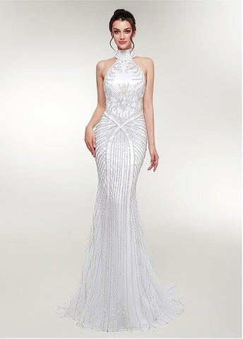 Tulle High Collar White Long Mermaid Evening Dress
