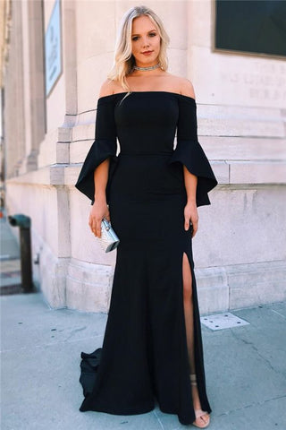 Black Off-The-Shoulder Side-Slit Satin Ruffle Mermaid Prom Dress