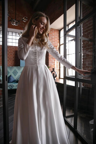 Appliques Button A Line Satin Long Sleeve Scoop Wedding Dress