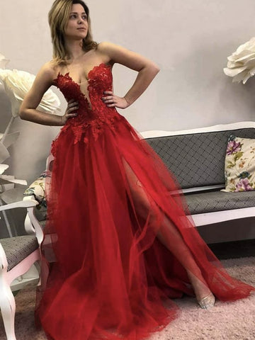 Red Tulle Applique Sweetheart Sheer See Through A line Prom Dress
