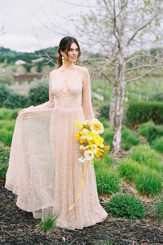 Beading Long Sleeve Backless Sparkle Champagne Sequin Wedding Dress