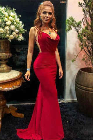 Spaghetti-Straps Satin Backless Sexy Burgundy Mermaid Prom Dress