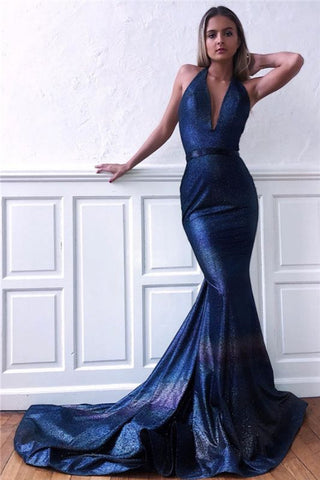 V-Neck Backless Halter Sequins Sleeveless Mermaid Prom Dress