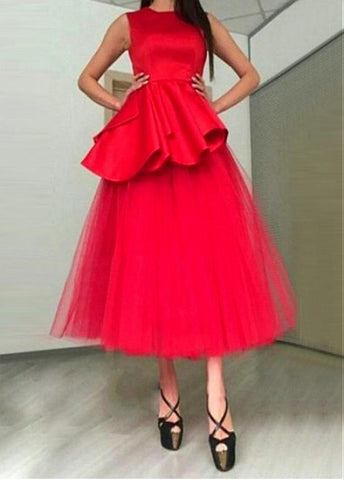 Red Tulle Jewel Neckline Tea-length A-line Prom Dress