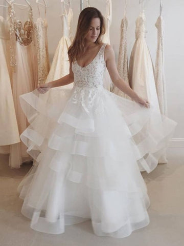 V-Neck Backless Tiered Wedding Dress