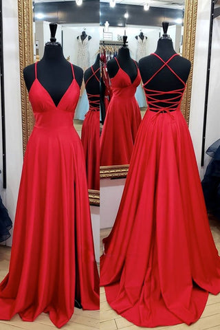 Red Satin Spaghetti Straps A Line Cross Back Long Prom Dress