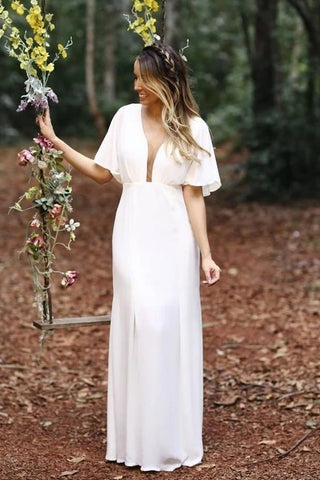 Boho Beach Spandex Sheath Column Caps Sleeve Plunging Wedding Dress