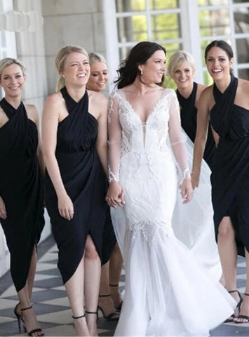 A-Line Black Halter Satin Tea Length  Bridesmaid Dress