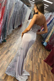 Satin Silver Side-Slit Strapless Appliques Mermaid Prom Dress