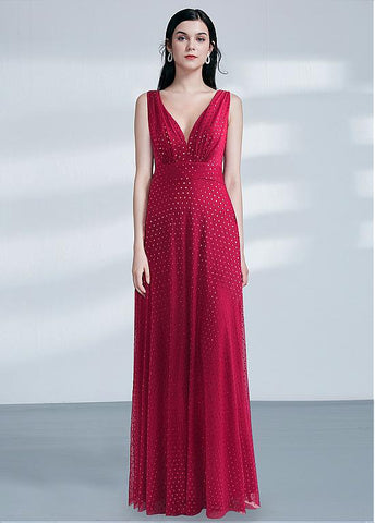 Floral Cloth V-neck Red Long A-line Evening Dress