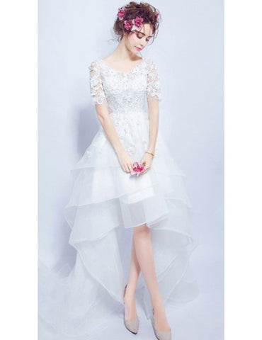 Short Sleeves High Low Scoop Organza Tulle Wedding Dress
