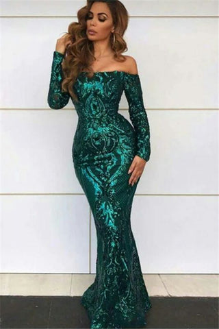Long Sleeves Mermaid Green Off The Shoulder Sequins Prom Dress