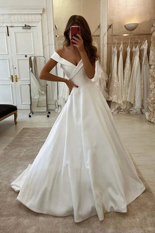 Satin Ruched A Line Sweep Train Off The Shoulder Wedding Dress