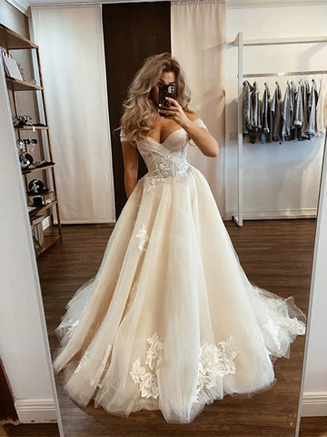 Tulle Appliques A Line Off The Shoulder Wedding Dress