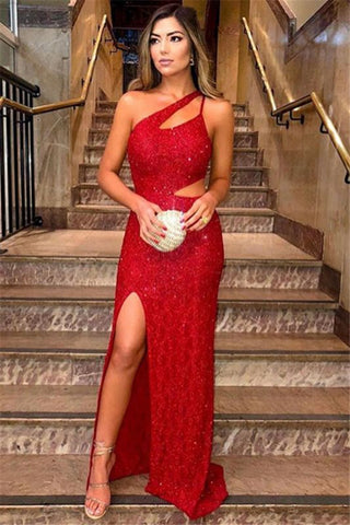 Cut Out Sheath Column Red One Shoulder Side-Slit Sequins Prom Dress