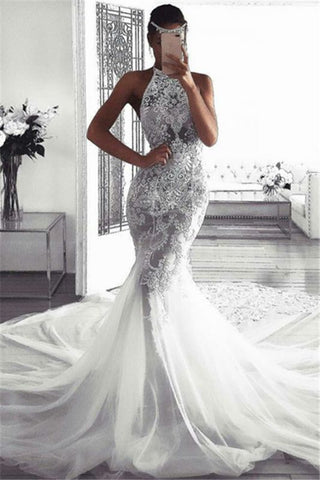 Tulle Sexy Sleeveless Lace Mermaid Fluffy Halter Wedding Dress