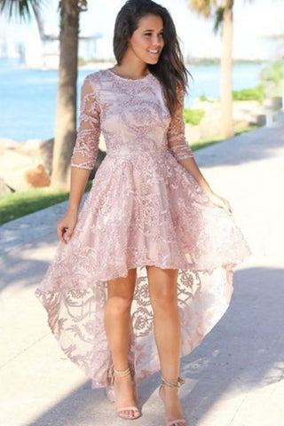 Pink Hi-Lo Jewel 3/4 Sleeves Exquisite Lace Beading Prom Dress