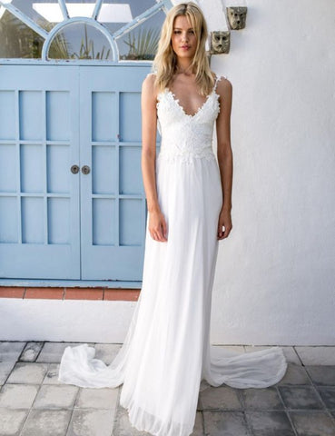 Chiffon Summer Bridal Backless Beach Lace Wedding Dress with Sash