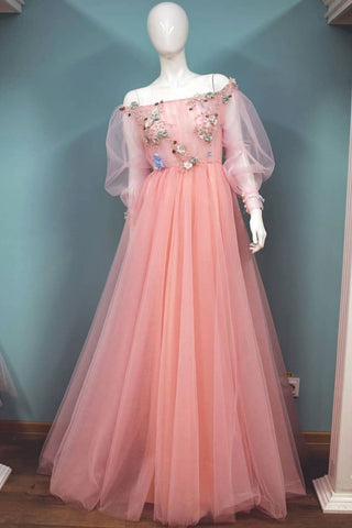 Appliques Flower Pink Tulle Lace Long Sleeves Prom Dress
