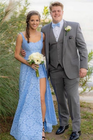 Lace Straps Sleeveless Sexy Blue Front Slit Prom Dress