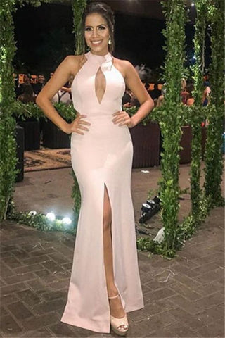 Side-Slit Satin Pink Halter Sleeveless Mermaid Prom Dress