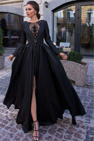 Black Lone Sleeves See Through Satin Side-Slit A-Line Prom Dress