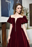 Back Burgundy Mid-Calf Short Sleeves Lace-up Ankle Length Velvet Prom Dress